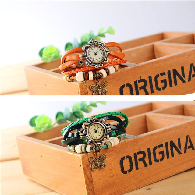 2019 Fashion Women Watches Korean Style Vintage Wooden Beads Butterfly Watch Leather Ropes relogio feminino Ladies Watch Women 5