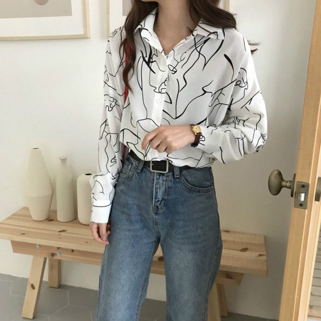 fed21728 Autumn Korean Women's Shirts Clothing Vintage Print Harajuku Streetwear  Long Sleeve Tops Unique Casual Ladies Button