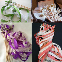 FREE SHIPPING--(50Pieces/Lot)3 Ribbons hot sale Wedding Wands Lace Mult-colour Ribbon Birthday Party ,christamas ribbon stick