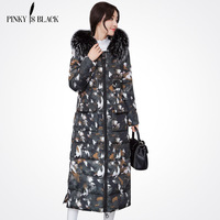 Pinky Is Black 2017 high quality winter extra long jacket women Thicken coat female outerwear Hooded fashion Slim printing coats
