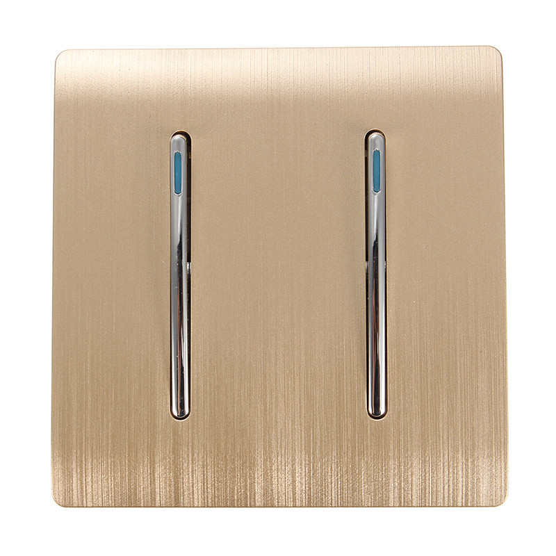 Kempinski Wall Switch, 2 Gang 1 Way Light Switch, Champagne Gold Color, Special Texture, C31 sereis, 110~250V Popular
