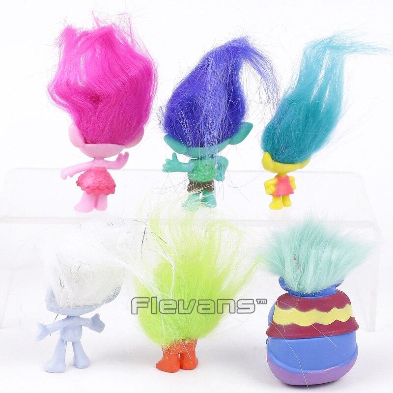 Trolls Poppy Branch Toys Dolls Mini PVC Figures Kids Childrens Gifts 6pcs/set