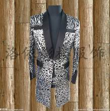 50ee3a5ccbd1 HOT 2019 New men suit GD BIGBANG right Zhi-Long silver sequined leopard suit  long coat Blazers nightclub singer stage costumes