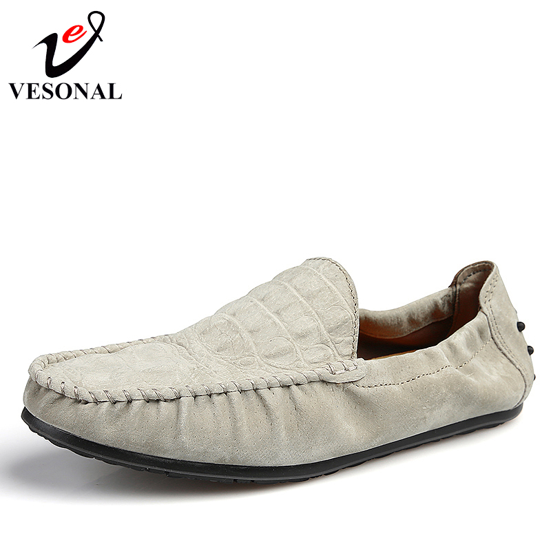 VESONAL Spring Summer Breathable Light Soft Moccasins Loafers Male Shoes For Men Boat Fashion Casual Cow Suede Driving Footwear vesonal 2017 quality mocassin male brand genuine leather casual shoes men loafers breathable ons soft walking boat man footwear