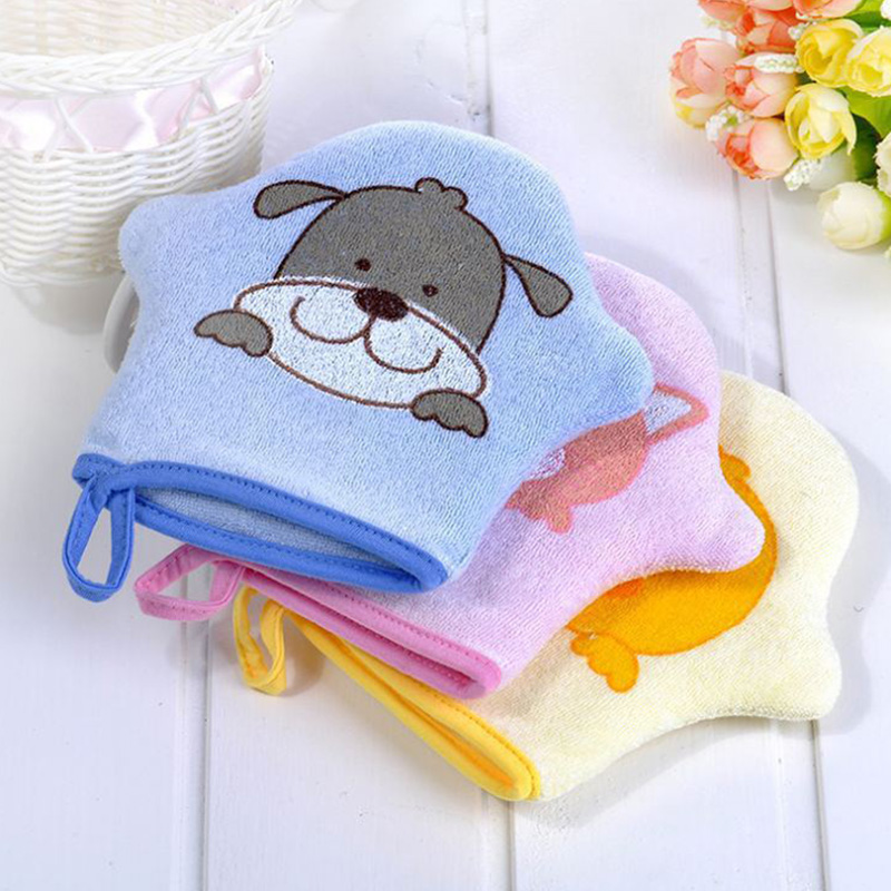 New Fashion Baby Bath Towel Accessories Baby Cartoon Super Soft Baby Bath Brushes Cotton Rubbing Children Body Wash Wipe Gloves