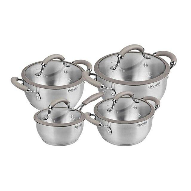 Набор посуды Rondell Balance 8 предметов RDS-756 (Нержавеющая сталь, внутренние отметки литража, подходит для всех типов плит, подходит для посудомоечной машины)