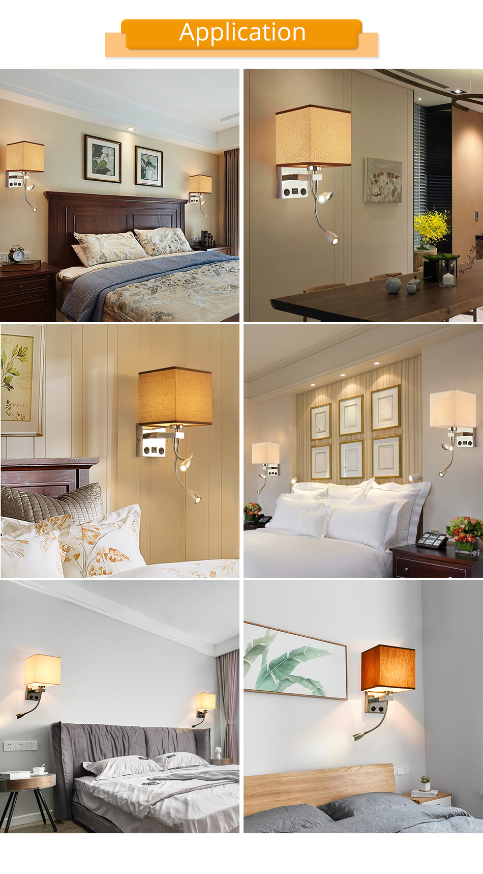 Modern Indoor LED Wall Lamp Bedside Bedroom Applique Sconce With Switch USB E27 Bulb Interior Headboard Home Hotel Wall Lights (11)