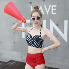 Vintage Retro Rockabilly High Waisted 50s Style Bikini Swimsuit Hot Sexy  Female Bikini Set Halter Top Bathing Suit Summer Beach 1pcs summer sexy rockabilly vintage high waist bikini swimsuit swimwear red white