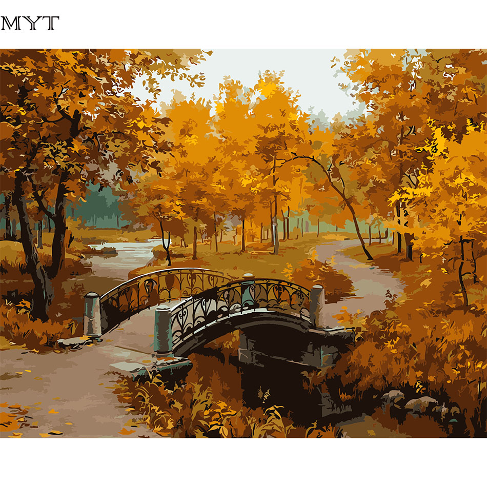 Unframed Hot Sale Modern Picture Painting On Canvas Wall Art Landscape DIY Painting By Numbers Home Decoration Hand Painted