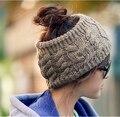 Nova Moda 6 Cores Quentes mulheres Outono E Inverno Quente Chapéus Moda Gorro 100% Acrílico Tricô Chapéu Vazio Chapéu de Presente de Natal