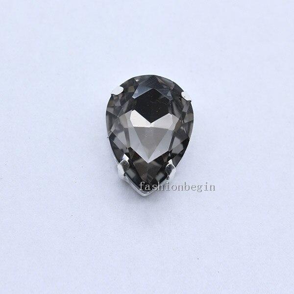 Все размеры слеза 24-Цвет стекло камень Пришить с украшением в виде кристаллов Стразы diamantes для шитья серебряной оправе в виде когтя для рукоделия Костюмы аксессуары - Цвет: black diamond