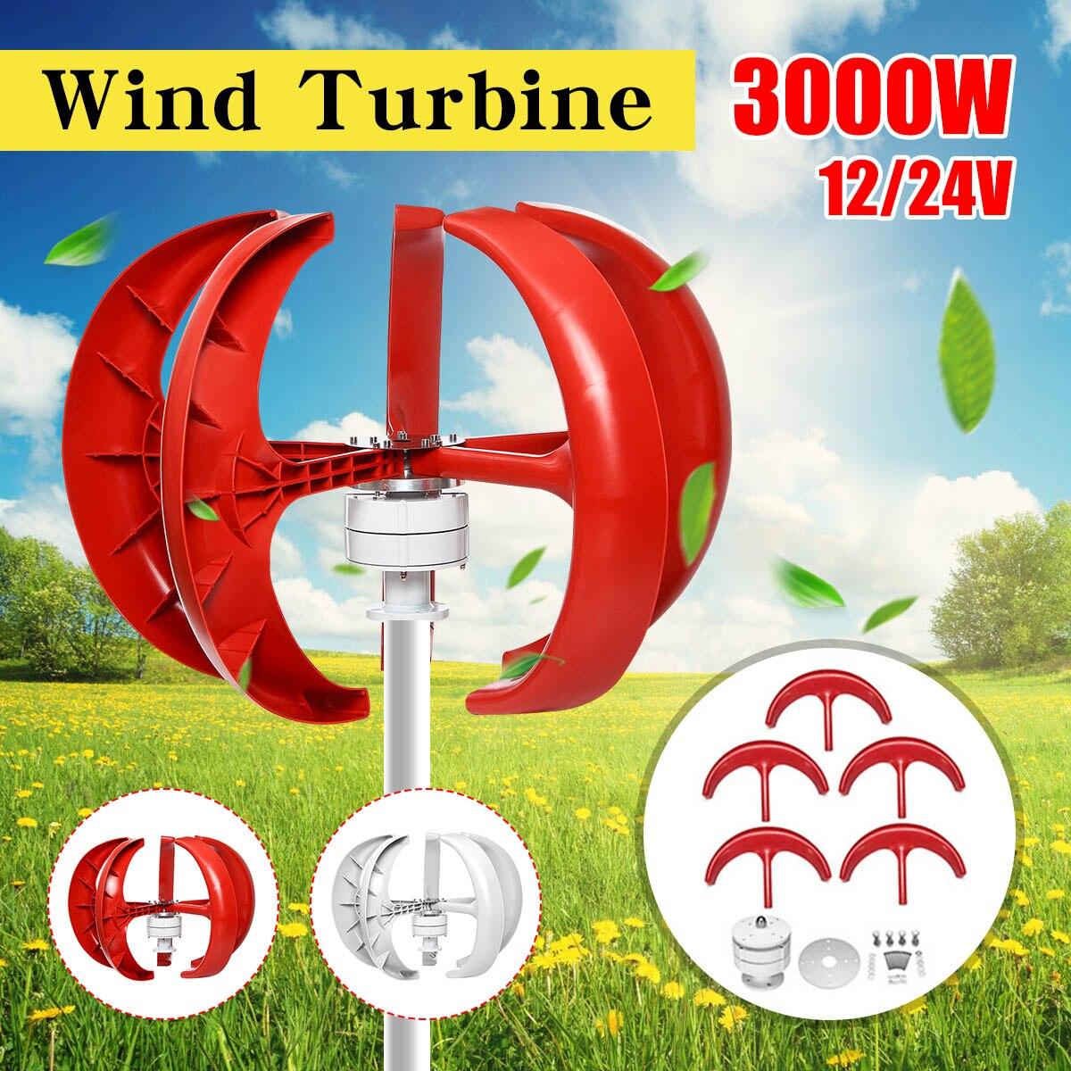 3000W éoliennes générateur 12V 24V 5 lames lanterne axe Vertical générateur à aimant Permanent pour la maison lampadaire + contrôleur