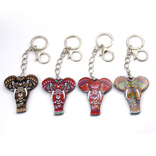 2019 Bonsny Enamel Alloy Jungle Animal Elephant Key Chain Key Ring For Women Bag Handbag Charm Jewelry Keychain Girl Accessories