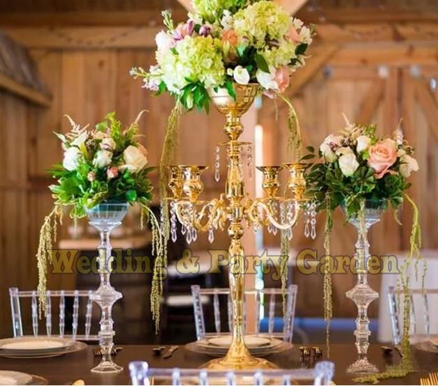 Gold Wedding Candelabras Flower Stand Table Centerpiece 10 Pcs Lot