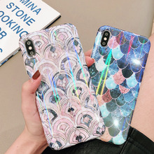 Case For iPhone 7 8 6 6S Plus X XR XS MAX Soft TPU Silicone Back Cover Aurora Fish Scale Pattern Phone Cases Coque Bling Dream цена и фото