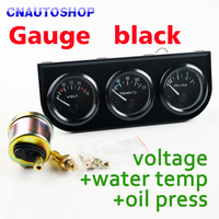 52mm 2 3 In 1 Kit Car Guage Voltage Water Temperature Oil Press Gauges Black Holder