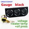 "Dragon Gauge 2"" 52mm 3-In-1 Kit Car Guage (Voltage + Water Temperature + Oil Press) Triple Meter Black Holder"