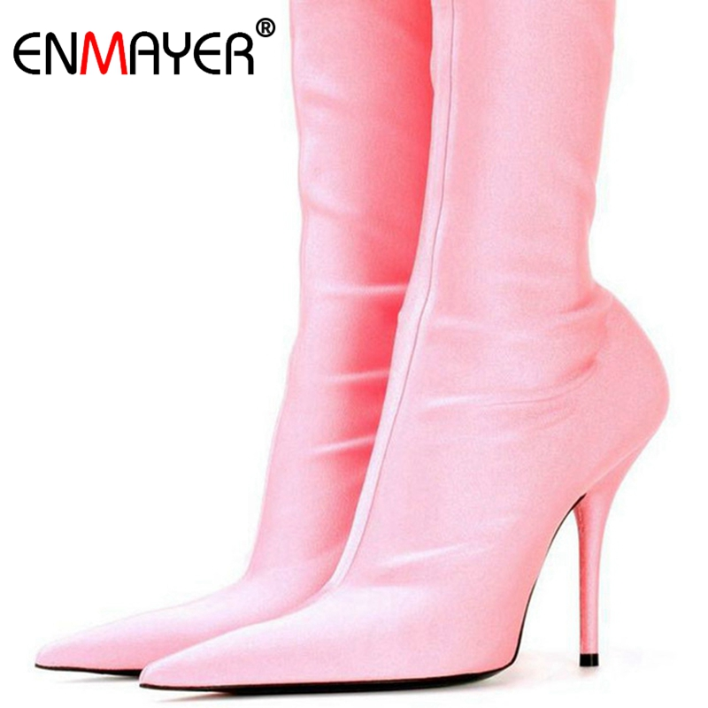 ENMAYER 2018 short section of the most fashionable women Shoes senior silk stretch ankle boots Satin elastic knee high heelsCR63