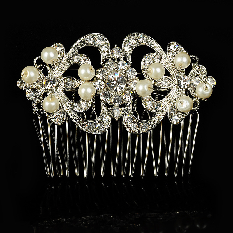Wedding Bridal Party Crystal pearl Flower Tiara Hair Clip Comb Prom Headpiece