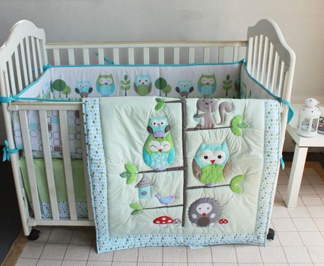 Promoción! 7 unids buho de la historieta otton cuna lecho para los bebés varones recién nacidos ropa de cama de bebé ( parachoques + funda de edredón + cubierta de cama falda de la cama )