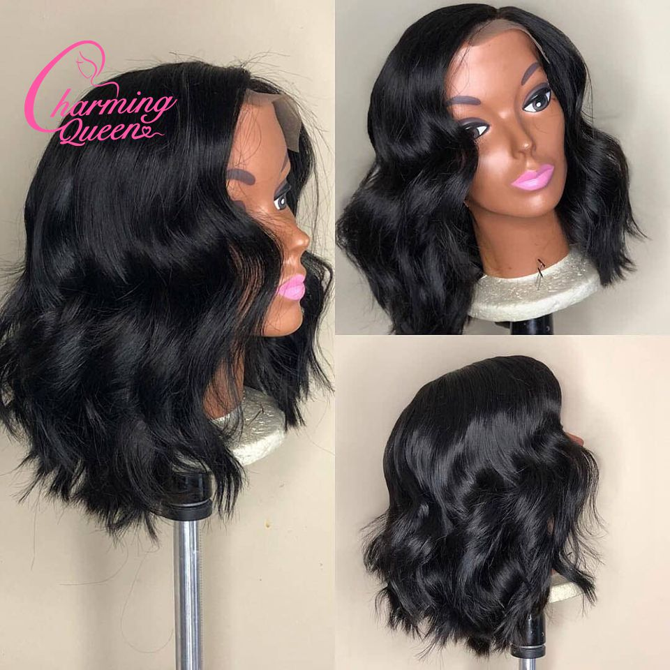 Charming Queen Wavy Short Bob Wigs 13*4 Lace Front Human Hair Wigs For Black Women Pre Plucked Peruvian Remy Hair Wigs Baby Hair