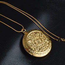 Locket Pendant Women Necklace Circle Coin Stainless Steel In Gold Silver Lady Charm Inside Photo Can Open Jewelry(China)