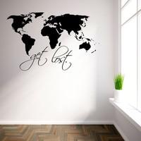 Get Lost Книги по искусству наклейки на стены для Гостиная съемный Домашний Декор мира Географические карты Наклейки на стену черный