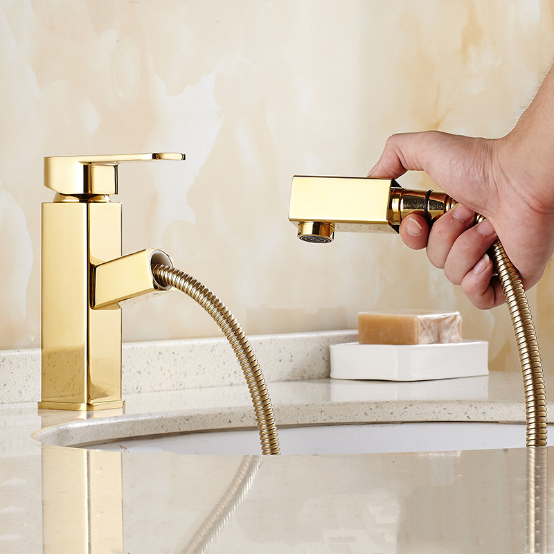 Free Shipping Gold Square Pull out Basin Faucet Luxury Bathroom Basin Sink Faucet Brass Vanity Sink Mixer New Arrivals water Tap free shipping free shipping pull out faucet polished chrome bathroom faucet basin sink mixer tap torneira banheiro bf031