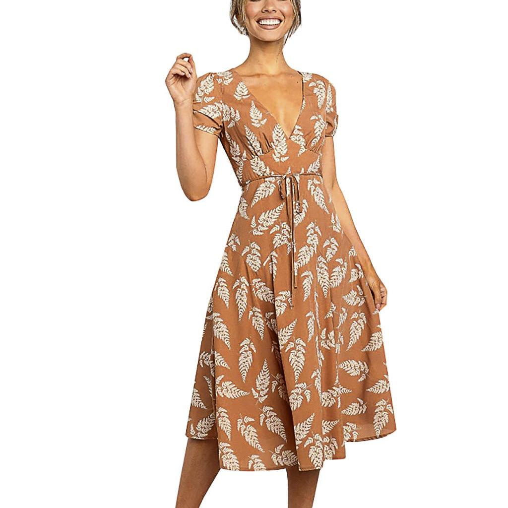 V-neck Leaf Print short-sleeved Strap Dress Summer Beach Bohemian Style Casual Elegant Long Dress Loose Large Size Sundress Lady