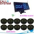 Llamadas más sistema de botón de camarero 1 escritorio / receptor de pared 10 mesa de campana para equipo de restauración