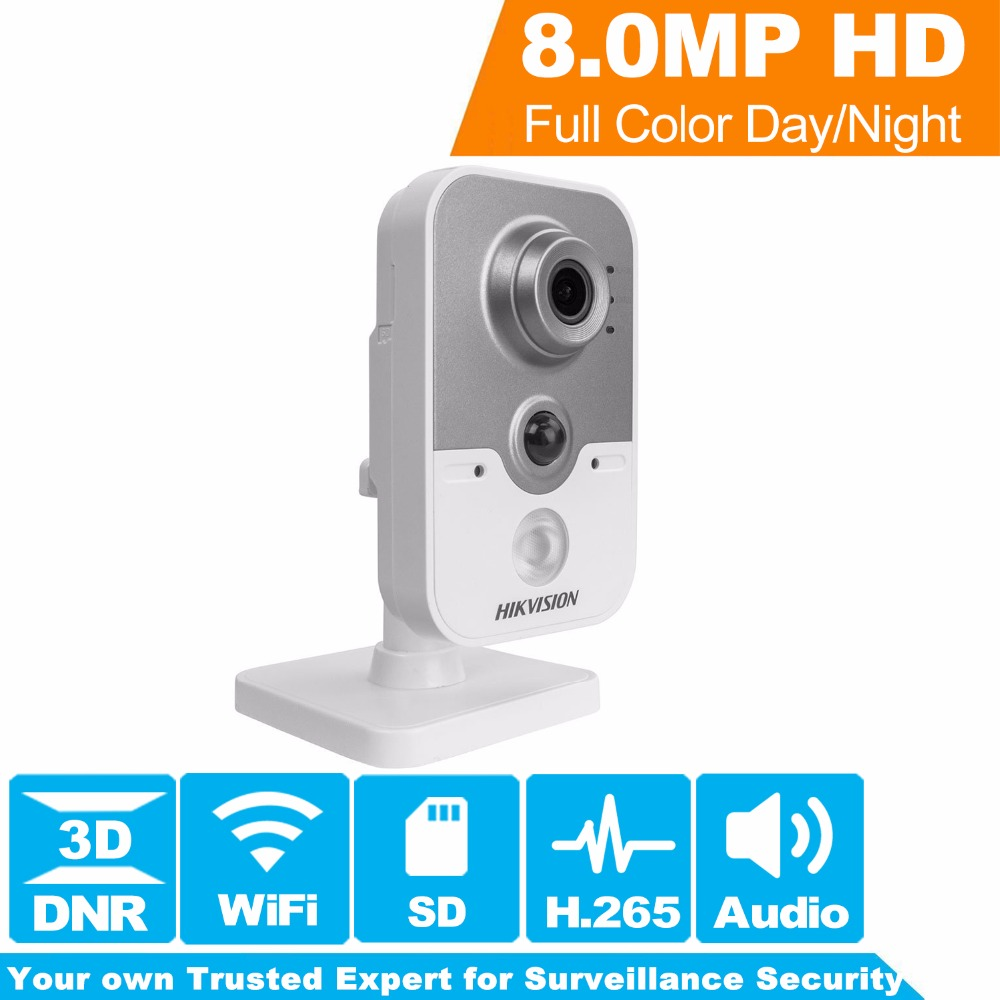Hikvision New WiFi Camera Indoor DS-2CD2485FWD-IW 8MP IR Cube Wireless IP Camera H.265 Built-in Microphone & SD Card Slot [ in stock ] hikvision overseas wireless ip camera indoor outdoor ds 2cd2442fwd iw 4mp wifi camera built in microphone