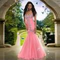 Africano rosa Vestido de Baile de Formatura Vestido de Baile Vestido de Cristais Frisado Longo Vintage Vestidos de Festa de Formatura Baratos
