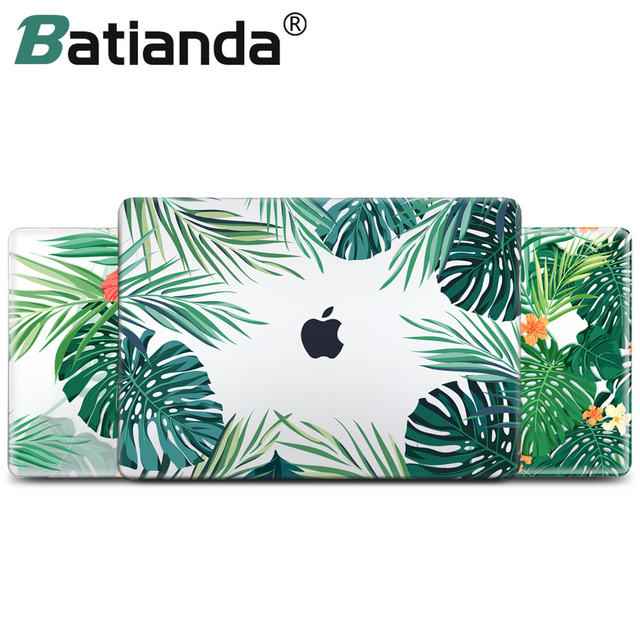 Green Leaves Beautiful Petals Printed Plastic Case Cover for Macbook Air 11 12 13 2018 A1932 Pro 13 15 w/out Retina Touch Bar