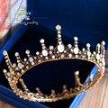 Retro luxo Barroco grande rodada coroa tiara de noiva vintage clássico cocar de casamento artesanal de cristal da coroa da rainha