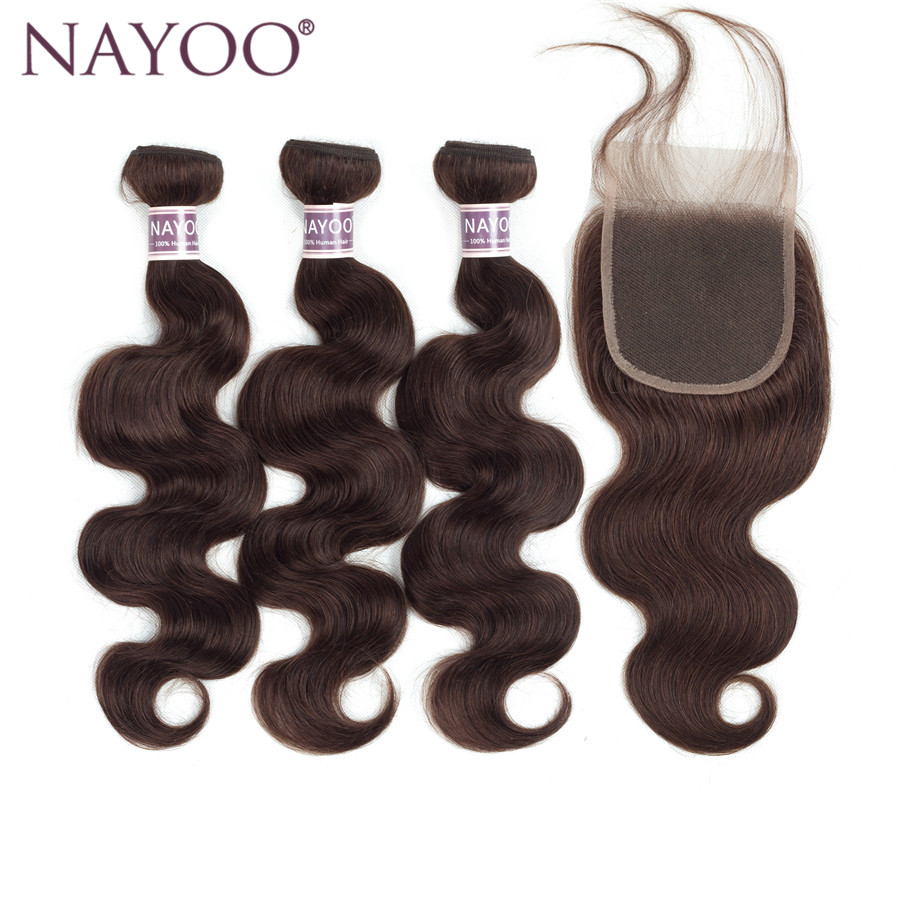 NAYOO Darker Brown Hair Brasilian Body Wave Hair Weaving 3 Bundlar - Mänskligt hår (svart)