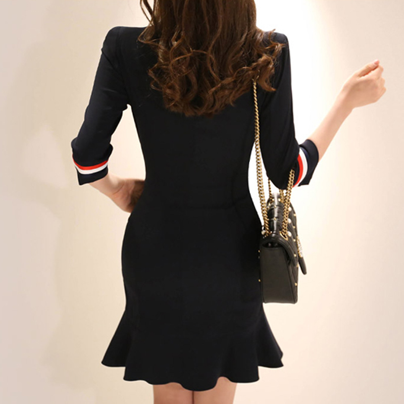 2018 Summer Doulble Breasted Notched Vestidos OL Half Sleeve Navy Mini Bodycon Fishtail Work Dresses