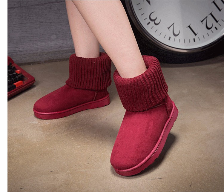 KUYUPP Patchwork Knitting Wool Women Snow Boots Winter Shoes 2016 Flat Heels Warm Plush Ankle Boots Slip On Womens Booties DX119 (14)