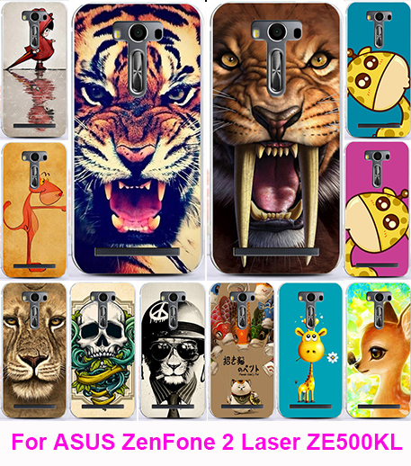 Print Tiger Lion Owl Soft TPU Phone Case Cover Asus Zenfone 2 Laser ZE500KL ZE500KG 5.0 Cases Skin Shell Hood Back Housing  -  3C Products Online Store store