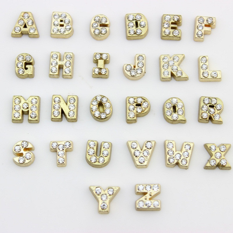 130pcs gold rhinestone a z alphabet letter floating charms initial charms for glass memory floating locket