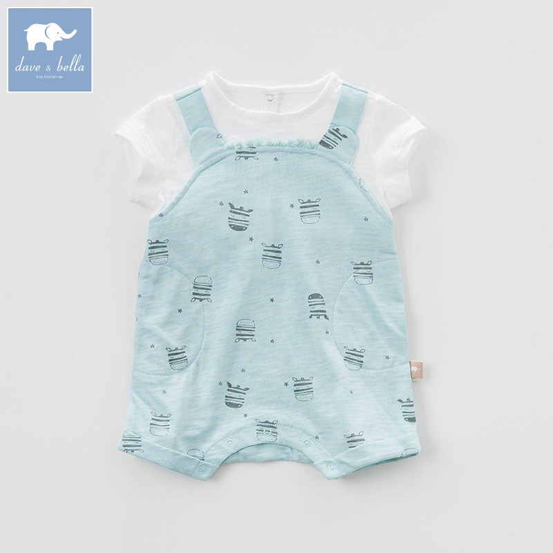 DB7228 dave bella summer baby boys new born cotton   romper   infant clothes cute children   romper   baby 1 piece