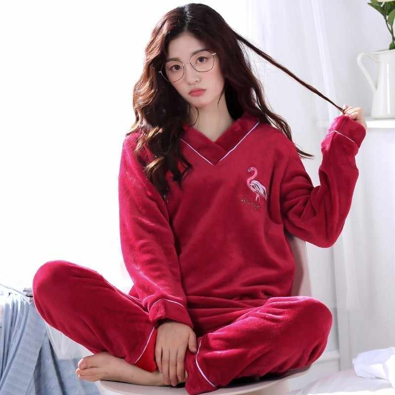 ... Winter Warm Flannel Elegant Women Sleepwear Pajamas lady Cartoon Red Pajama  Set Pullover Coral Fleece Pijamas 8c226c1b2
