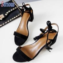 2016 Summer Style Ankle Strap Sandal Simple Designer Sheepskin Med Squared Heel Open Toe Sandals High Quality Lady Shoe