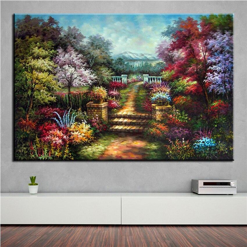 No Frame Home Printed Flower Thomas Kinkade Landscape Oil Painting