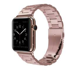 Роскошные Нержавеющаясталь ремешок Застежка-бабочка браслет Замена для Apple Watch Series 1/Series 2 38 мм 42 мм красная роза