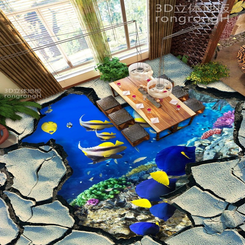 Free Shipping Underwater world 3D floor stickers waterproof self-adhesive bedroom square living room bathroom flooring mural free shipping marble texture parquet flooring 3d floor home decoration self adhesive mural baby room bedroom wallpaper mural