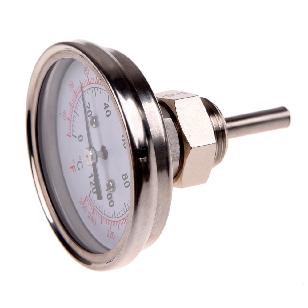 Stainless Steel Analog Thermometer Gauge for Oven Grill BBQ Dual Scale Instant Read Probe Food Cooking