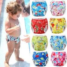 Милые регулируемые детские тканевые подгузники, летние Мультяшные плавки, водонепроницаемые плавки, одежда для малышей, аксессуары