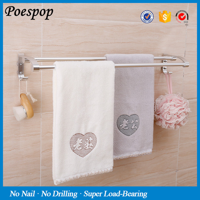 Aliexpress Posepop Magic Sticker No Drill Aluminum Towel Bar Kitchen Bath Holder Bathroom Hanger With Hook Accessories