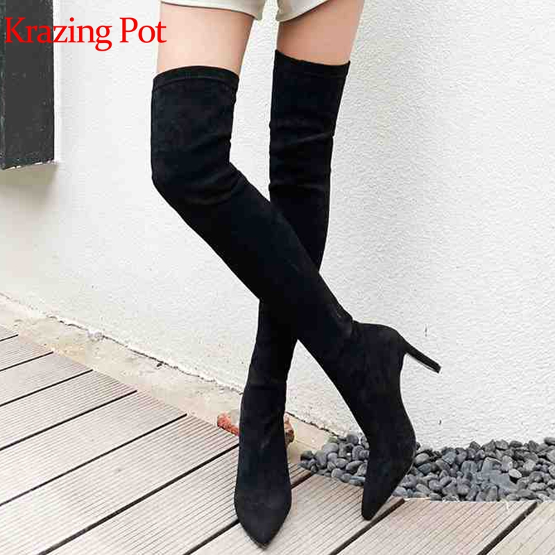 Krazing Pot 2019 new flock stretch boots pointed toe solid color stiletto super high heels fashion