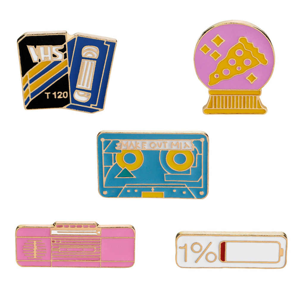 6573bc1a7fc9 Brooches & pins Pink radio 1% battery pizza ball magnetic tape Cartoon  badge brooches young girls Jewelry